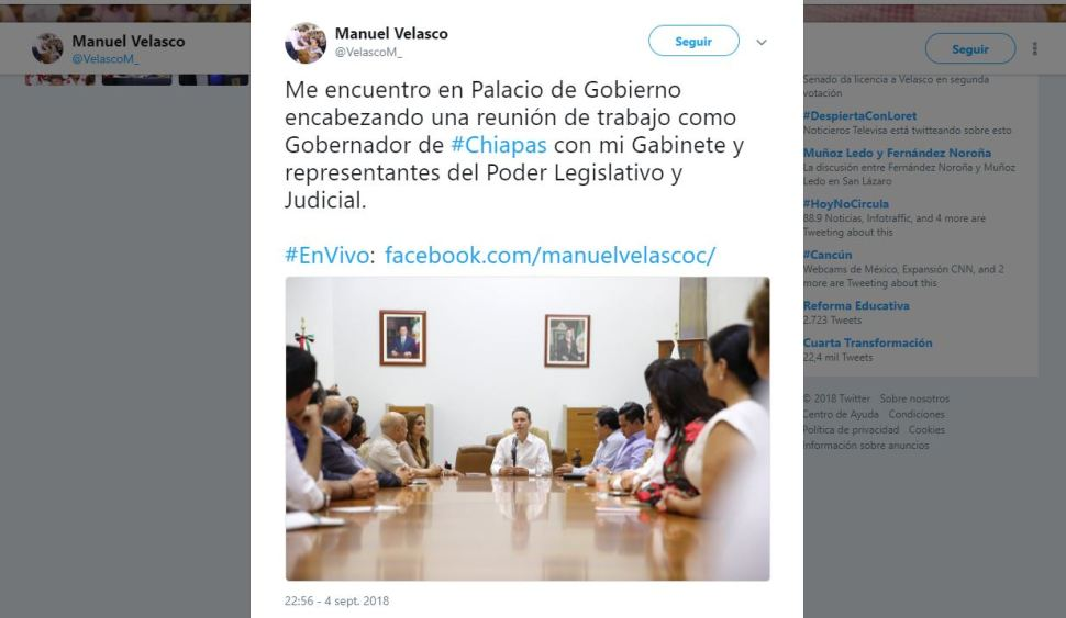 Regresa Manuel Velasco como gobernador de Chiapas