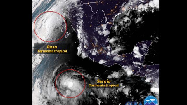 huracan rosa degrada tormenta tropical oceano