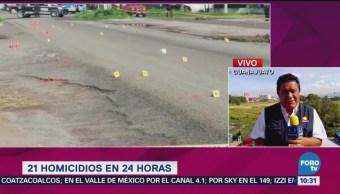 Suman 21 homicidios en 24 horas en Guanajuato