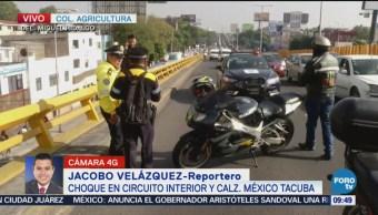 Se registra choque en Circuito Interior y México Tacuba