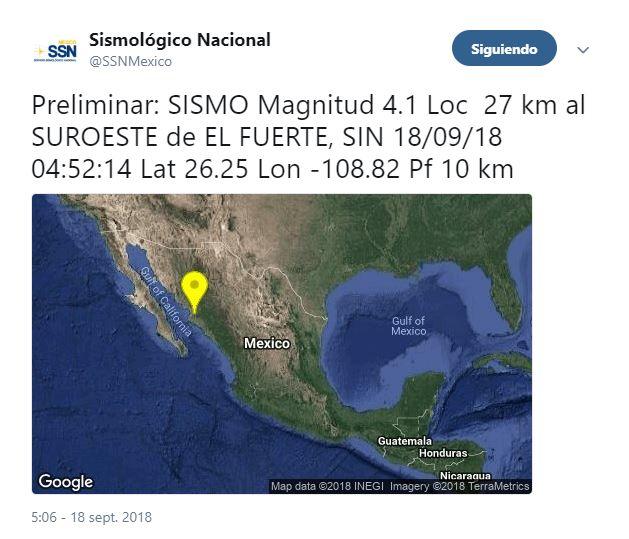 Se confirma sismo registrado en Sinaloa y BCS