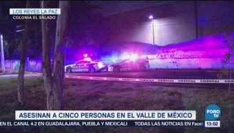 Suman 5 muertos por disparos en Valle de MéxicO