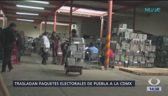 Trasladan paquetes electorales de Puebla a la CDMX
