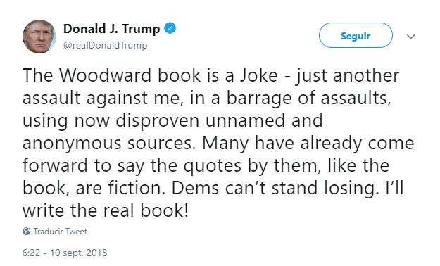 Trump arremete nuevamente en Twitter contra Bob Woodward. (@realDonaldTrump)