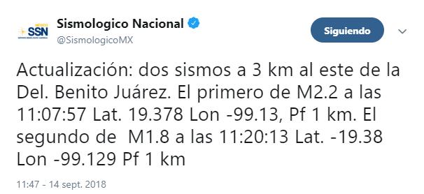 Reportan sismo en la colonia Narvarte