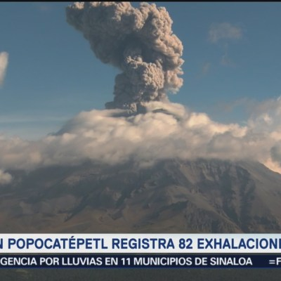 Volcán popocatépetl tiene 82 exhalaciones