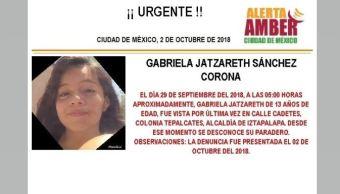 Alerta Amber para localizar a Gabriela Jatzareth