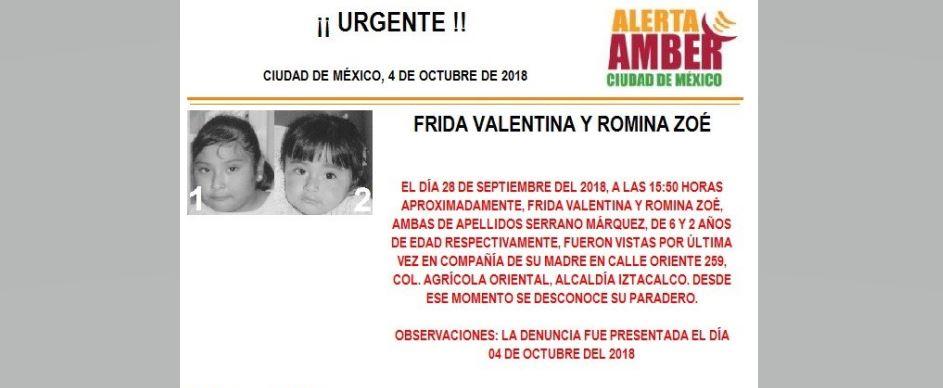 Alerta Amber para localizar a Frida Valentina y Romina Zoé