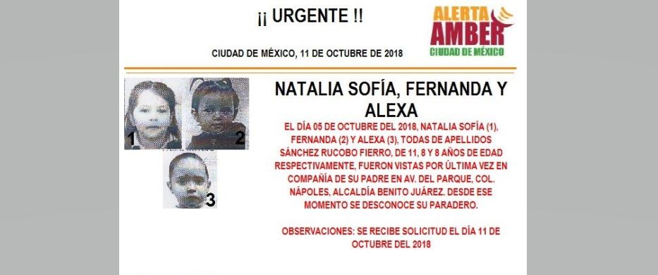 Alerta Amber para localizar a Natalia Sofía, Fernanda y Alexa