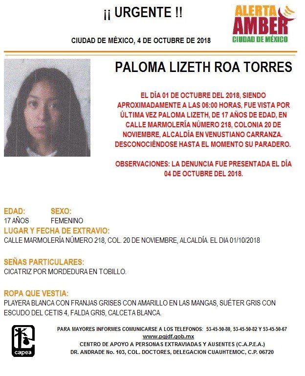 Alerta Amber para localizar a Paloma Lizeth Roa Torres