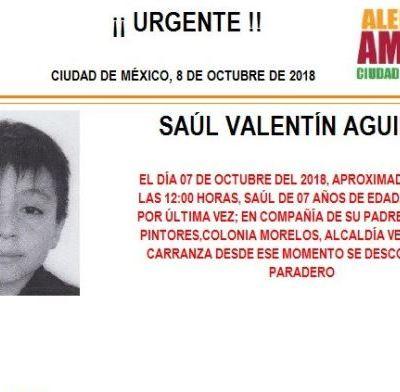Activan Alerta Amber para localizar a Saúl Valentín Aguirre de 7 años