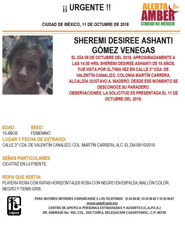 Activan Alerta Amber para localizar a Sherem
