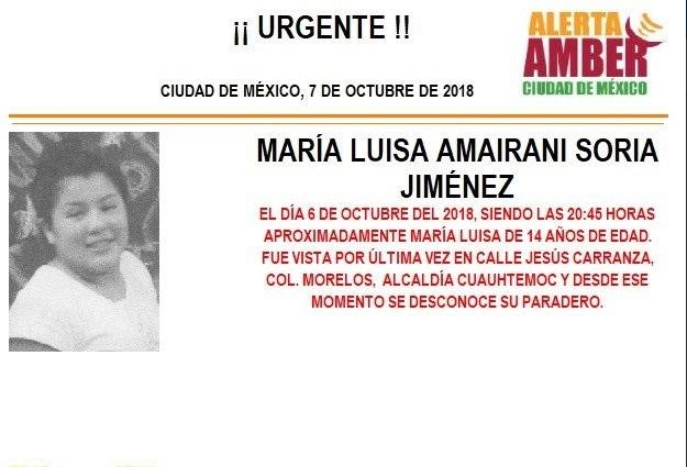 Alerta Ámber: Ayuda a localizar a María Luisa Amairani Soria Jiménez