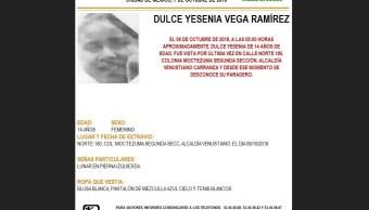 Alerta Amber: Para localizar a Dulce Yesenia Vega