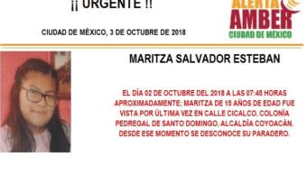Alerta Amber: Ayuda para localizar a Maritza Salvador