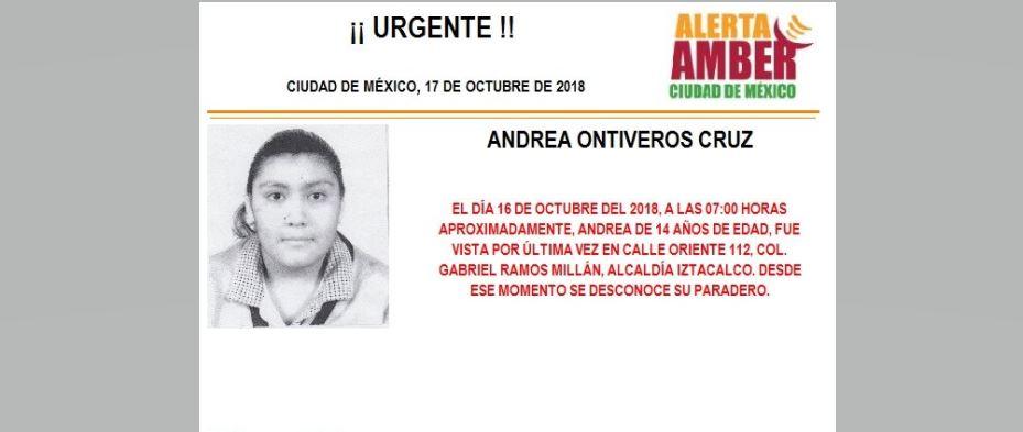 Alerta Amber para localizar a Andrea Ontiveros Cruz