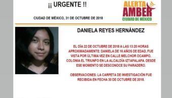 Alerta Amber para localizar a Daniela Reyes Hernánde