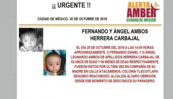 Alerta Amber para localizar a Fernando Daniel y Ángel Leonardo