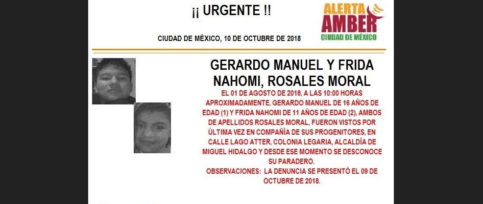 Alerta Amber para localizar a Gerardo Manuel y Frida Nahomi