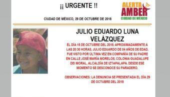 Alerta Amber para localizar a Julio Eduardo Luna