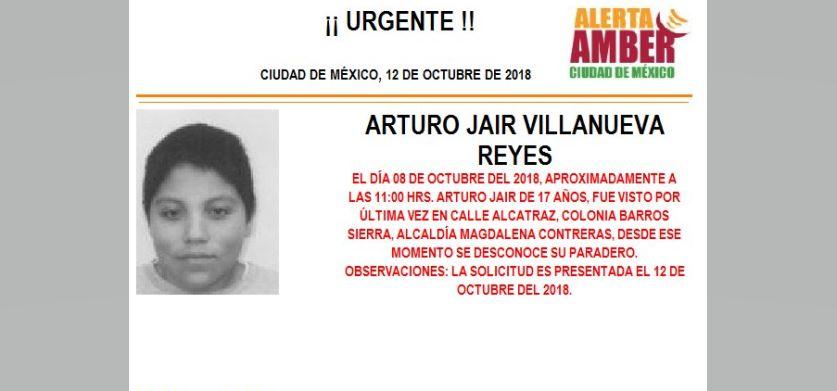 Alerta Amber para localizar a Arturo Jair