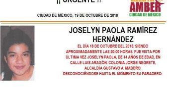 Alerta Amber: Piden ayuda para localizar a Joselyn Ramírez