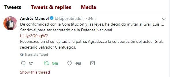 AMLO: Luis C. Sandoval sería titular de la Sedena