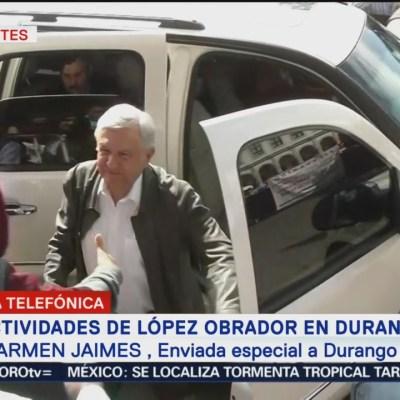 Andrés Manuel López Obrador llega a Durango