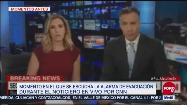 Captan momento exacto que suena alerta en CNN por paquete sospechoso