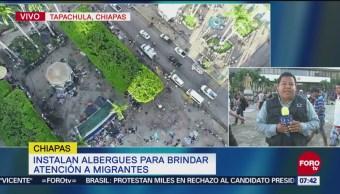 Caravana migrante descansa en Tapachula, Chiapas