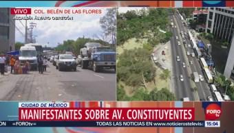 Complicada vialidad en Constituyentes por protesta de campesinos