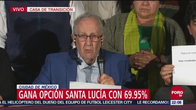 Consulta Aeropuerto Gana Santa Lucía 69.95%, Gana Santa Lucía Con 69.95%, Domingo, La Opción De Santa Lucía