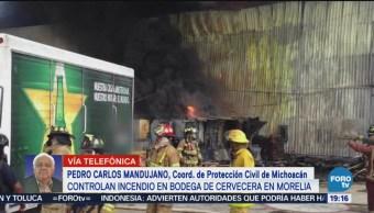 Controlan Incendio Bodega Cervecera Morelia, Michoacán
