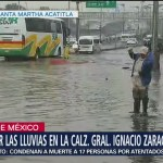 Daños por lluvias en calzada Ignacio Zaragoza, Iztapalapa