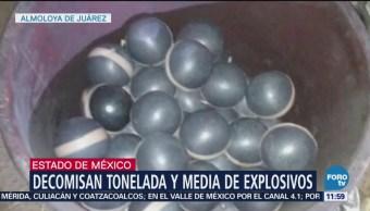 Decomisan 1.5 toneladas de explosivos en Almoloya de Juárez