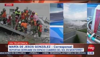 Despliegan binomios caninos por derrumbe en Monterrey