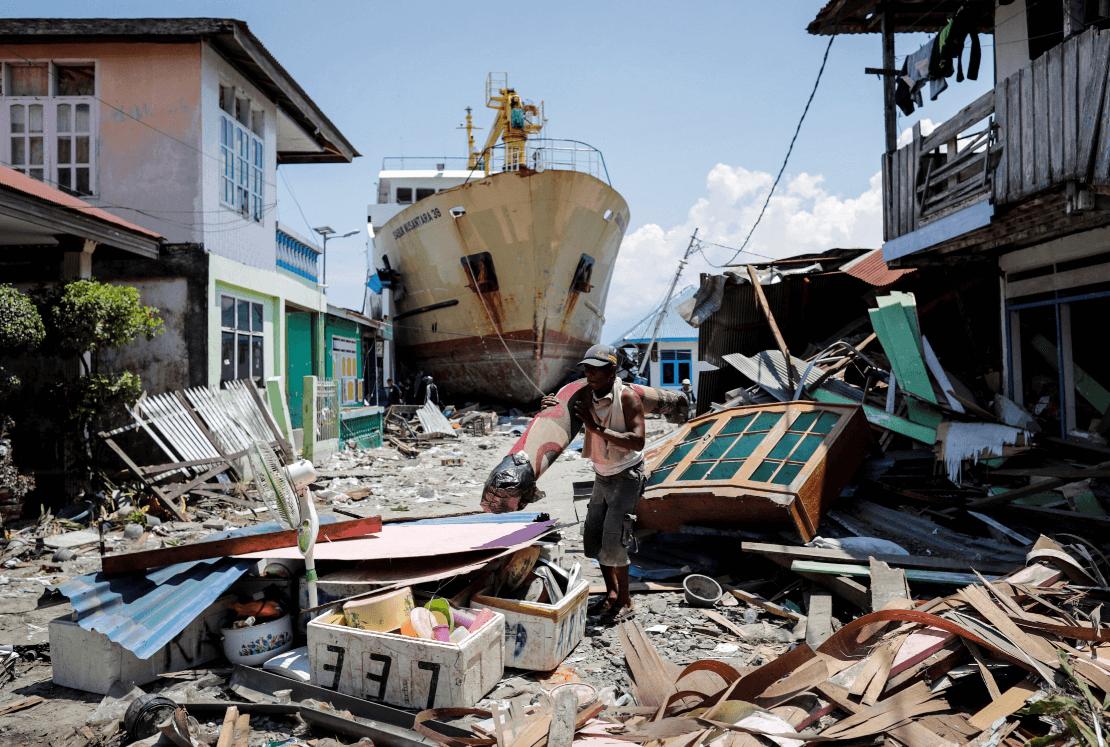 Destrozos causados por los sismos y el tsunami. (EFE)