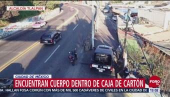 Encuentran cuerpo envuelto y dentro de una caja en la México-Cuernavaca