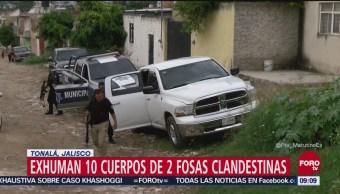 Exhuman 10 cuerpos de dos fosas clandestinas en Tonalá, Jalisco
