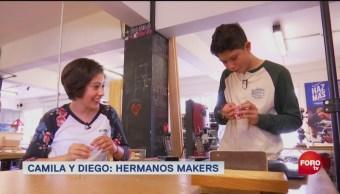 Camila Luna, Diego Luna, Los hermanos Makers jóvenes makers crear proyectos programación, diseño, robótica