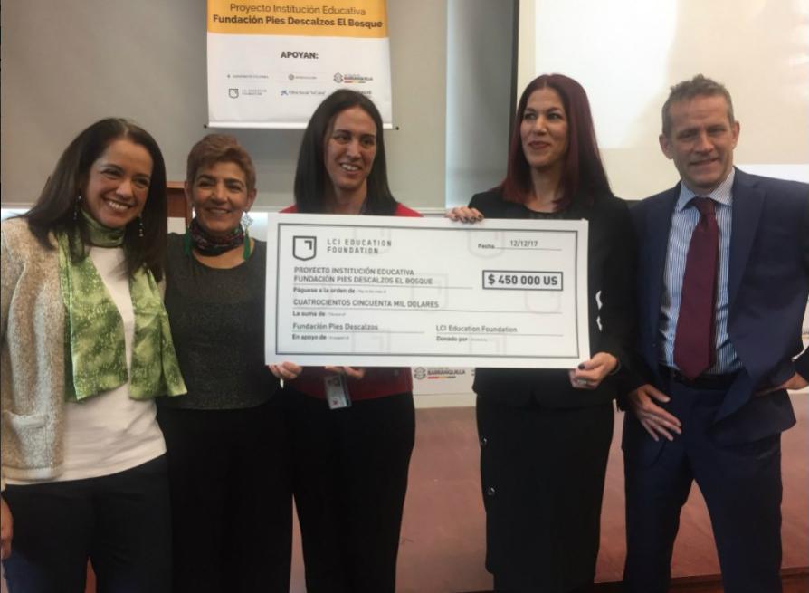 Fundación Pies Descalzos anuncia recepción de donativo pr parte de LCI Education Foundation en 2017 (ElEspectador)