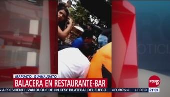 Graban Momento Balacera Guanajuato Tiroteo Restaurante