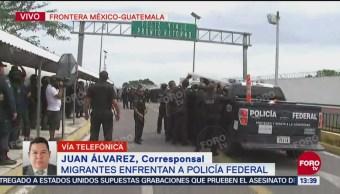 Gresca entre caravana migrante y policías federales deja lesionados