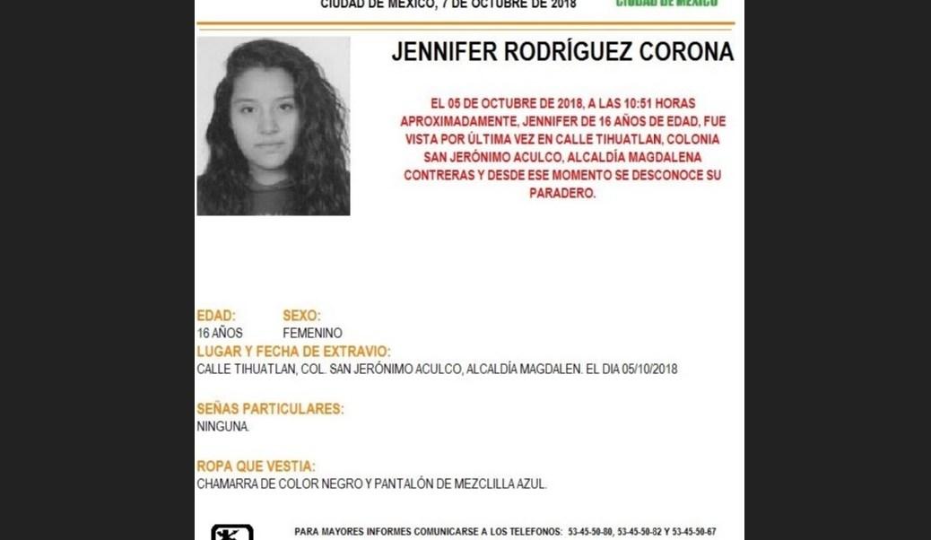 Alerta Amber: Ayuda a localizar a Jennifer Rodríguez Corona