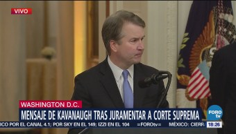 Kavanaugh rinde protesta como titular de la Corte Suprema