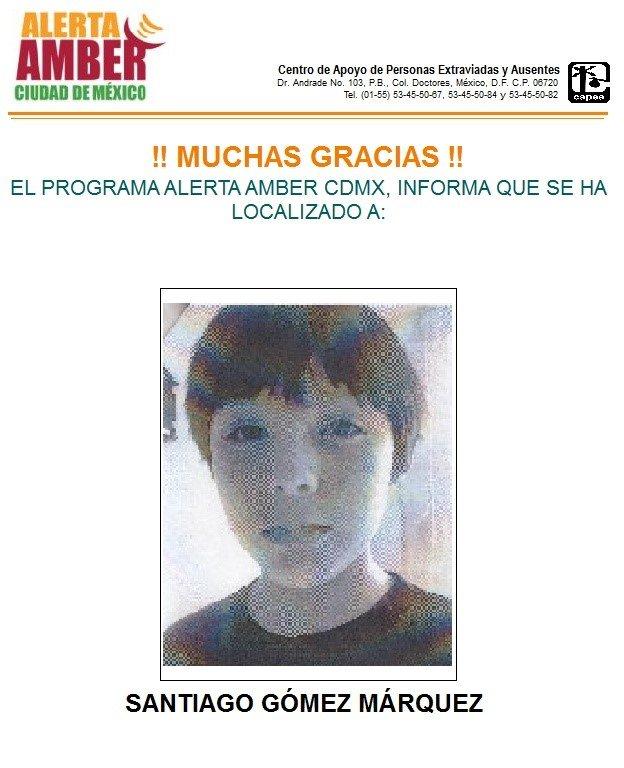 Localizan a menor Santiago Gómez Márquez