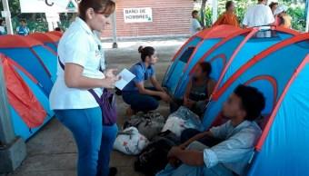 Migrantes alojados en Ciudad Hidalgo reciben atención