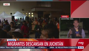 Migrantes Descansan Juchitán Oaxaca Recorrido Caravana