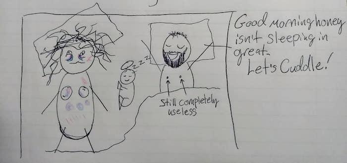 Dibujitos explica marido por qué está cansada