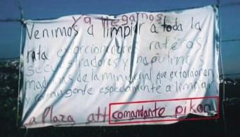 Reportan narcomantas en Naucalpan; advierten 'limpia de plaza'